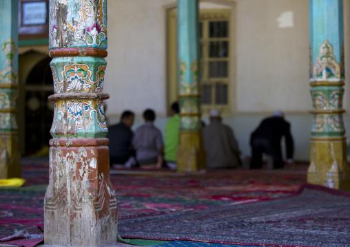 Uyghur Men Praying Inside The Mosque, Yarkand, Xinjiang Uyghur Autonomous Region, China