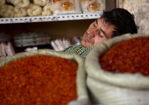 Uyghur Man Sleeping on Spices bags, Xinjiang Uyghur Autonomous Region, China