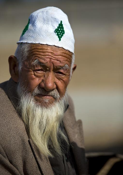 Old Uyghur Man In Serik Buya Market, Yarkand, Xinjiang Uyghur Autonomous Region, China