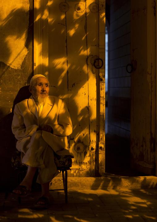 Old Uyghur Man At His Door, Kashgar, Xinjiang Uyghur Autonomous Region, China