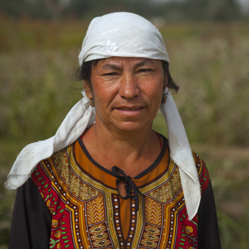 Uyghur Cotton Producer In The Fields, Hotan, Xinjiang Uyghur Autonomous Region, China