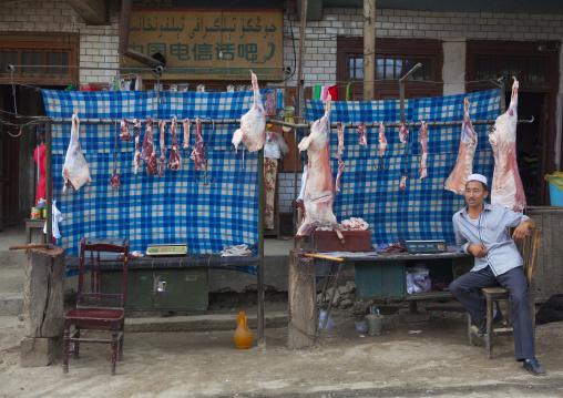 Uyghur Butcher In Keriya, Old Town, Xinjiang Uyghur Autonomous Region, China