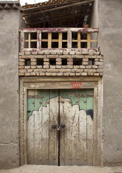 Traditional Door In Old Town, Keriya, Xinjiang Uyghur Autonomous Region, China