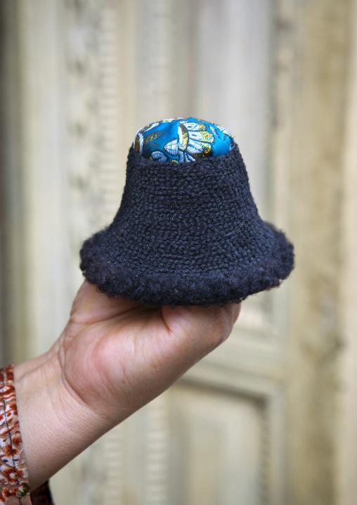 Tiniest Hat In The World, Keriya, Old Town, Xinjiang Uyghur Autonomous Region, China
