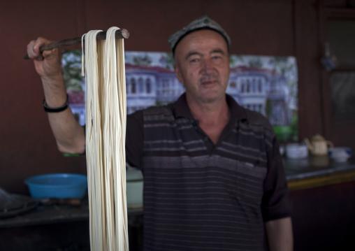 Uyghur Man Making Laghman, Keriya, Xinjiang Uyghur Autonomous Region, China