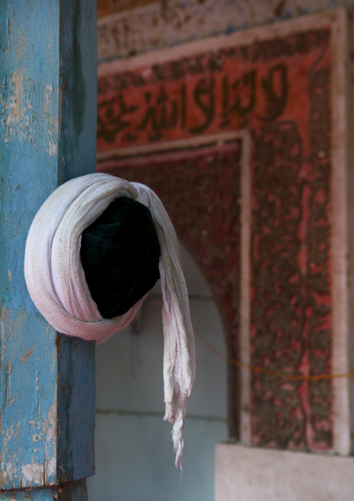 Mollah Hat Hanged Inside Of A Mosque, Minfeng, Xinjiang Uyghur Autonomous Region, China