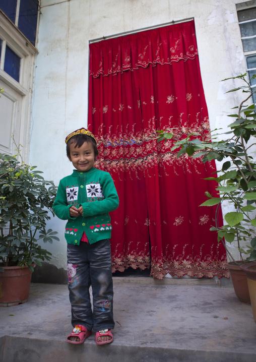 Young Uyghur Kid In Mindenf, Xinjiang Uyghur Autonomous Region, China