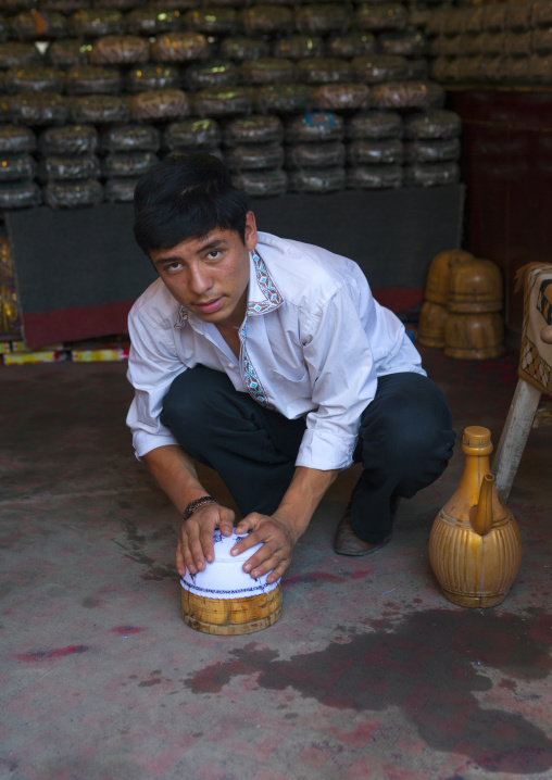 Man Making a Hat, Yarkand, Xinjiang Uyghur Autonomous Region, China