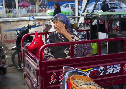 Uyghur Woman In a Cart, Xinjiang Uyghur Autonomous Region, China