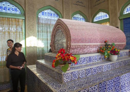 People Visiting The Mausoleum Of Amanishahan In Yarkand, Xinjiang Uyghur Autonomous Region, China