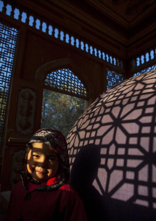 Little Uyghur Girl In Sultan Saiyidhan Tomb In Yarkand, Xinjiang Uyghur Autonomous Region, China