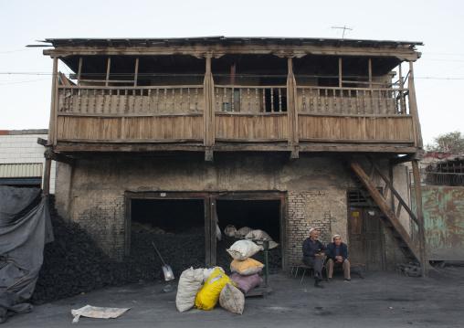 Uyghur Men Selling Coal, Yarkand, Xinjiang Uyghur Autonomous Region, China
