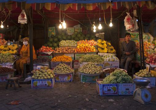 Uyghur Shopkeepers Selling Fruits, Yarkand, Xinjiang Uyghur Autonomous Region, China