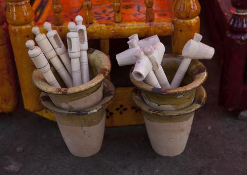 Tube Used To Drain The Urine Of Babies While In Crib, Serik Buya Market, Yarkand, Xinjiang Uyghur Autonomous Region, China