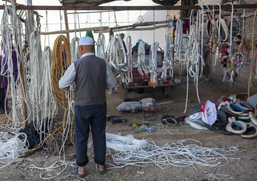 Halter And Ropes For Sale, Serik Buya Market, Yarkand, Xinjiang Uyghur Autonomous Region, China