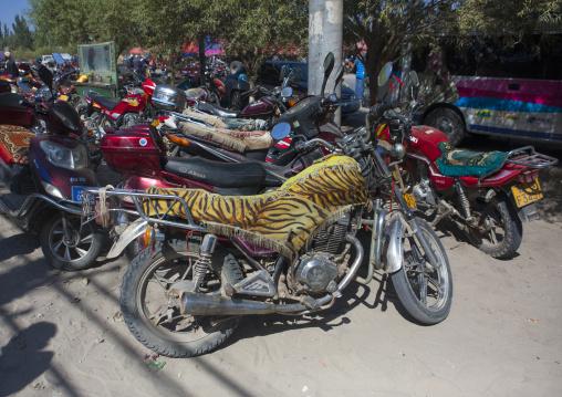 Fancy Motorcyles Parked In Serik Buya Market, Yarkand, Xinjiang Uyghur Autonomous Region, China