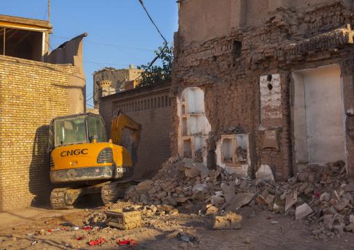 Bulldozer And Demolished House, Old Town Of Kashgar, Xinjiang Uyghur Autonomous Region, China