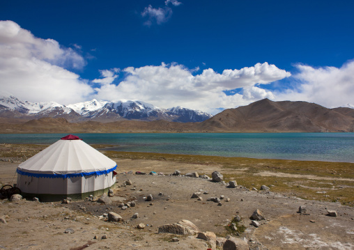 Yurt And Mountain Scenery At Kara Kul Lake On The Karakoram Highway, Xinjiang Uyghur Autonomous Region, China