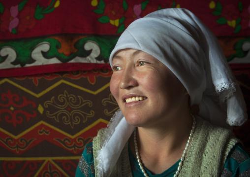 smiling Kyrgyz Woman Near Karakul Lake, Xinjiang Uyghur Autonomous Region, China