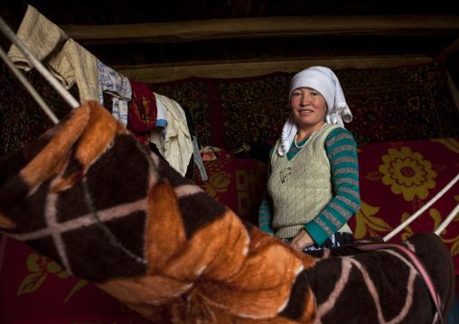 Kyrgyz Woman Near Karakul Lake, Xinjiang Uyghur Autonomous Region, China