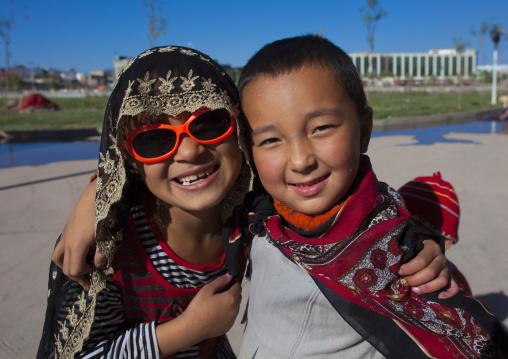 Uyghur Kids In Old Town Of Kashgar, Xinjiang Uyghur Autonomous Region, China