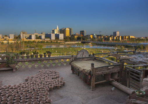 View Over The New Town From A Roof Of The Old Town, Kashgar, Xinjiang Uyghur Autonomous Region, China