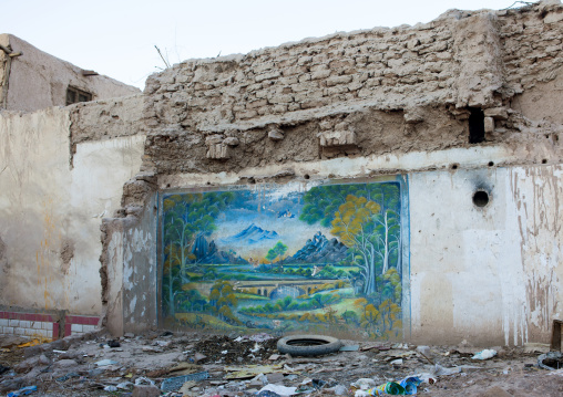 Wall Painting In The Ruins Of A Demolished House, Old Town Of Kashgar, Xinjiang Uyghur Autonomous Region, China
