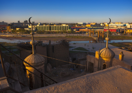 View Over The New Tomn From The Mosque In The Old Town Of Kashgar, Xinjiang Uyghur Autonomous Region, China