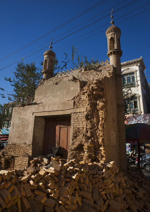 Demolished Mosque In The Old Town Of Kashgar, Xinjiang Uyghur Autonomous Region, China