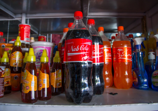 Fake cocal cola in the market, Badakhshan province, Ishkashim, Afghanistan