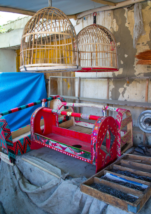 Bird cages and craddles for babies in the market, Badakhshan province, Ishkashim, Afghanistan