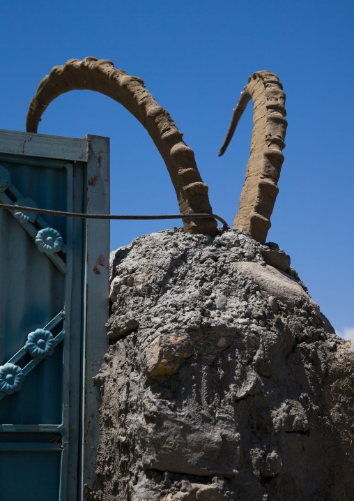 Ibex horns to bring good luck at the entrance of a house, Badakhshan province, Qazi deh, Afghanistan