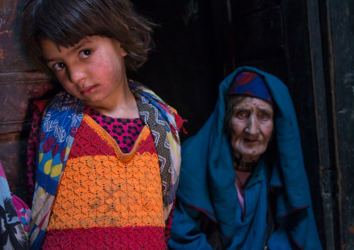 Afghan girl with her grand mother in a pamiri house, Badakhshan province, Qazi deh, Afghanistan