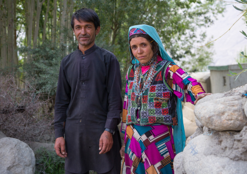 Afghan couple with traditional clothing, Badakhshan province, Khandood, Afghanistan