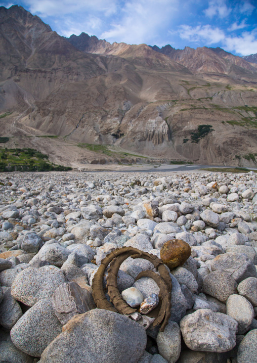 Ibex horns to bring luck to the traveller, Badakhshan province, Wuzed, Afghanistan