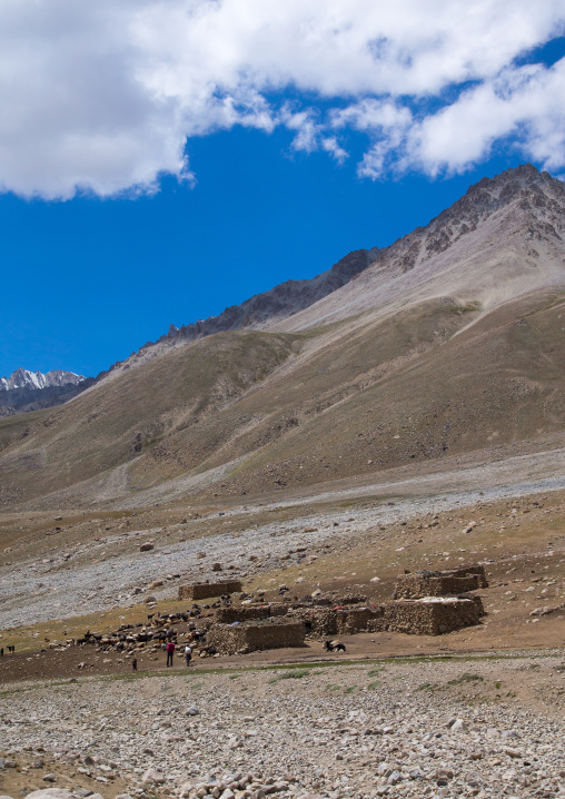 Wakhi village in the pamir mountains, Big pamir, Wakhan, Afghanistan