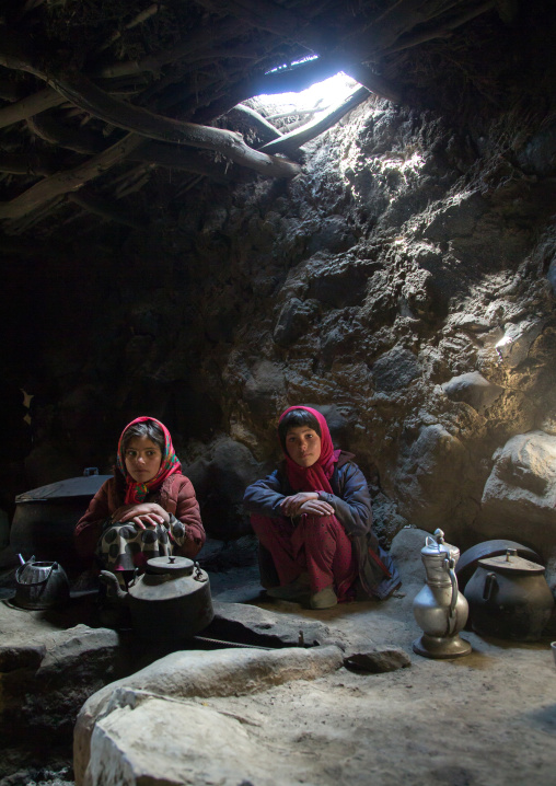 Wakhi girls inside their house in the pamir mountains, Big pamir, Wakhan, Afghanistan