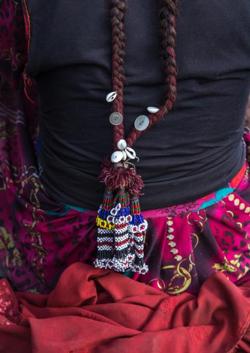 Wakhi nomad woman braided hair, Big pamir, Wakhan, Afghanistan