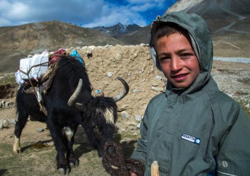 Wakhi nomad boy with a yak, Big pamir, Wakhan, Afghanistan