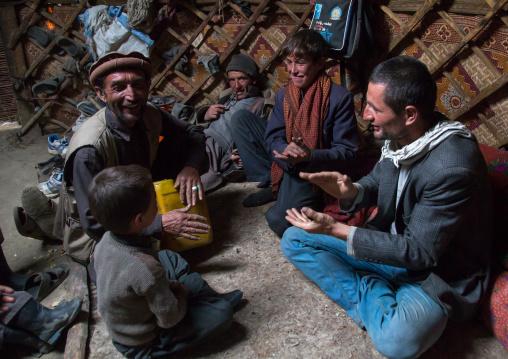 Wakhi nomads singing inside a yurt, Big pamir, Wakhan, Afghanistan