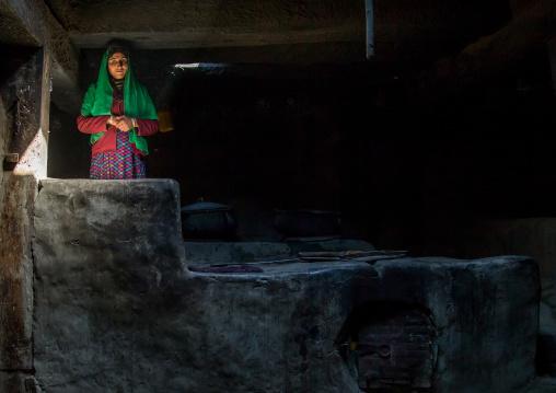 Afghan woman inside her traditional pamiri house, Badakhshan province, Zebak, Afghanistan