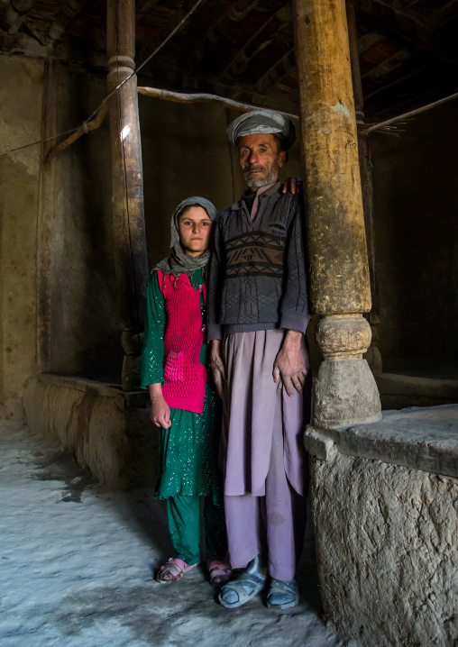 Father and her daughter in their traditional house, Badakhshan province, Zebak, Afghanistan