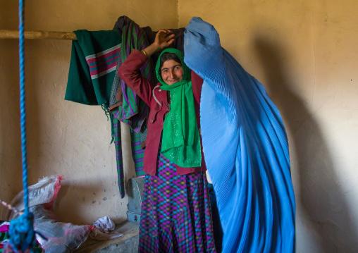Afghan woman wearing a burka, Badakhshan province, Zebak, Afghanistan