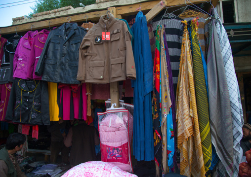 Burka for sale in the market, Badakhshan province, Ishkashim, Afghanistan
