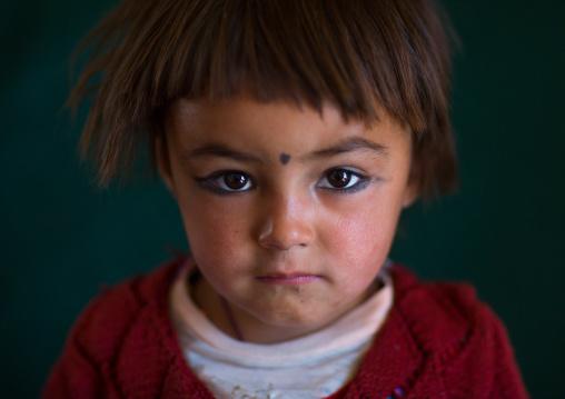 Portrait of an afghan girl with a dot on the forehead, Badakhshan province, Zebak, Afghanistan