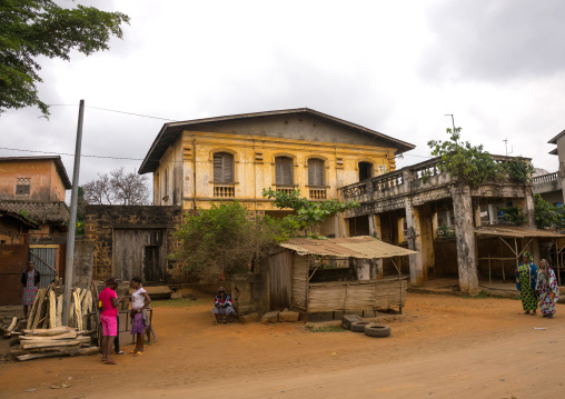 Benin, West Africa, Porto-Novo, old french colonial building near the train station