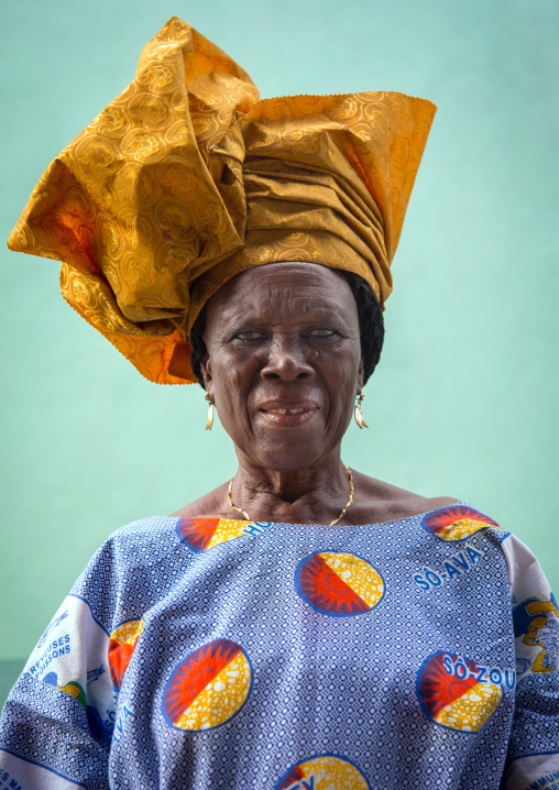 Benin, West Africa, Ganvié, fashionable old woman in traditional beninese clothing
