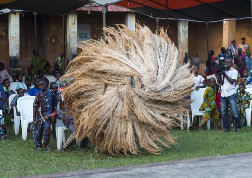 Benin, West Africa, Porto-Novo, zangbeto guardian of the night spirit dance in the royal palace