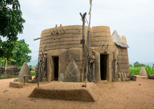 Benin, West Africa, Boukoumbé, voodoo altars representing the spirits of the dead people from the traditional tata somba house