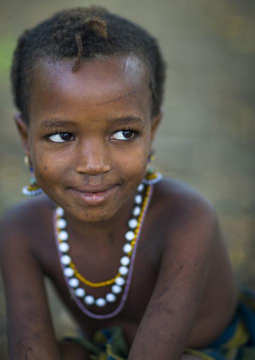 Benin, West Africa, Gossoue, fulani peul tribe little girl